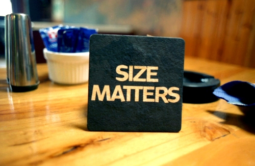 Size Matters bar coaster