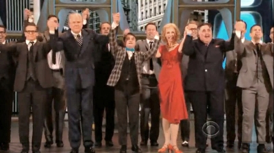John Larroquette, Daniel Radcliffe, Ellen Harvey and the How To Succeed cast