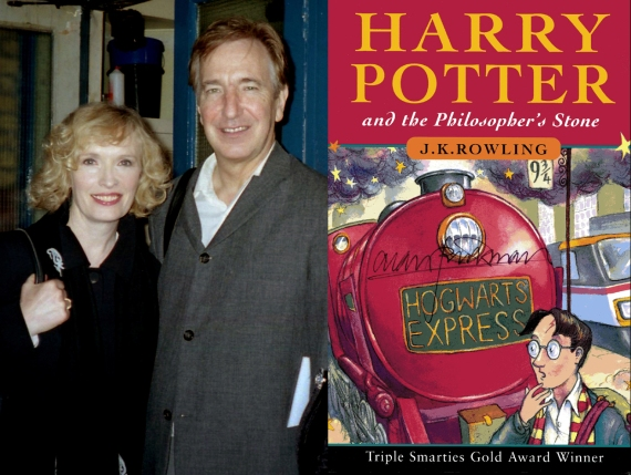 Lindsay Duncan & Alan Rickman, October 2001, and autographed book cover