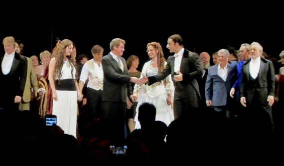 Michael Crawford and Ramin Karimloo shake hands