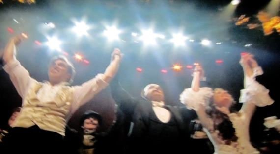Curtain call with Hadley Fraser, Ramin Karimloo and Sierra Boggess
