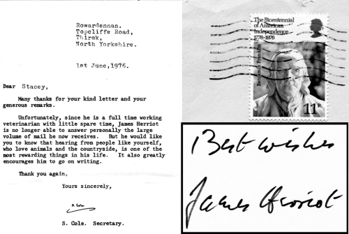 James Herriot letter and autograph