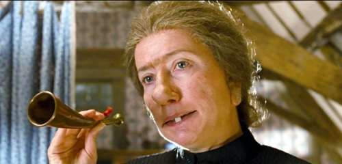 Emma Thompson as Nanny McPhee with horn