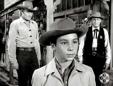 Chuck Connors, Johnny Crawford and Paul Fix in The Rifleman