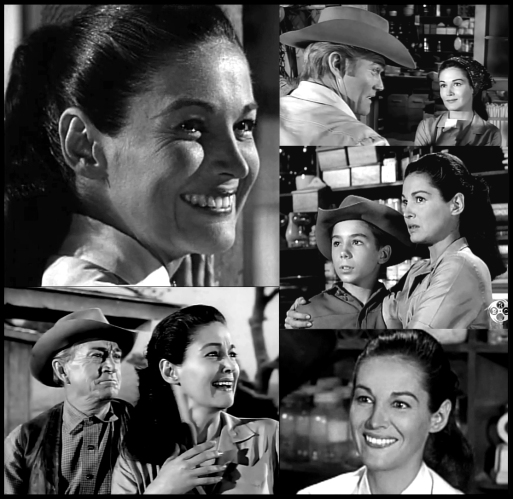 Joan Taylor on The Rifleman with Chuck Connors, Johnny Crawford and Paul Fix
