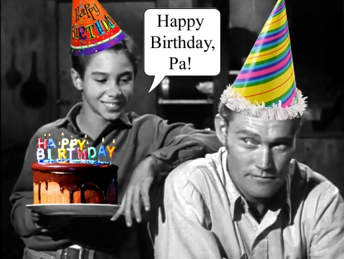 Mark (Johnny Crawford) and Lucas (Chuck Connors) celebrate a McCain birthday.