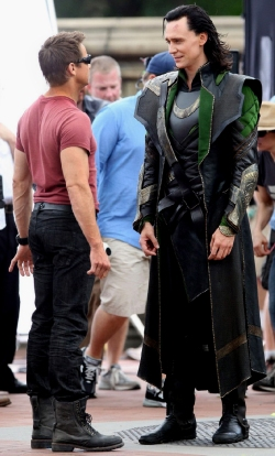 Jeremy Renner and Tom Hiddleston on location in The Avengers