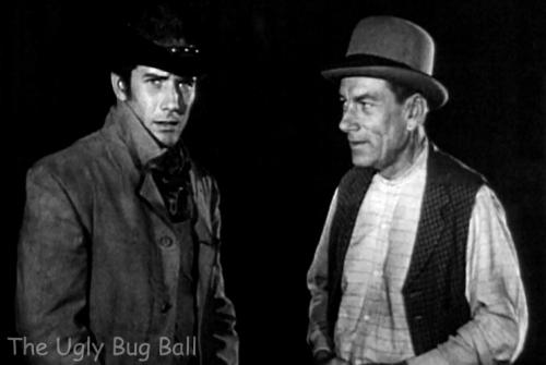 Robert Fuller (Jess Harper) and Hoagy Carmichael (Jonsey) in Laramie