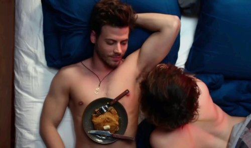 Francois Arnaud, Rebecca Hall, and pancakes in Permission